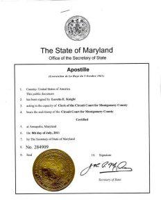 Sample of US Apostille Certified Stamp